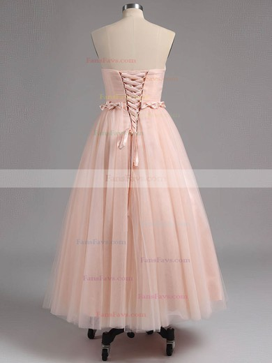 A-line Strapless Tulle Tea-length Sashes / Ribbons Homecoming Dresses #Favs02013482
