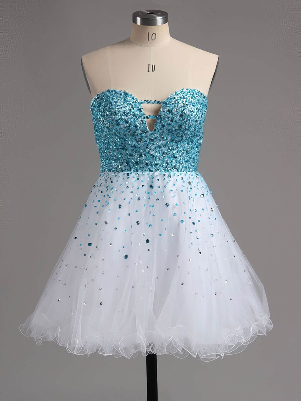 A-line Sweetheart Short/Mini Tulle Prom Dresses with Beading Ruffle #Favs02016389