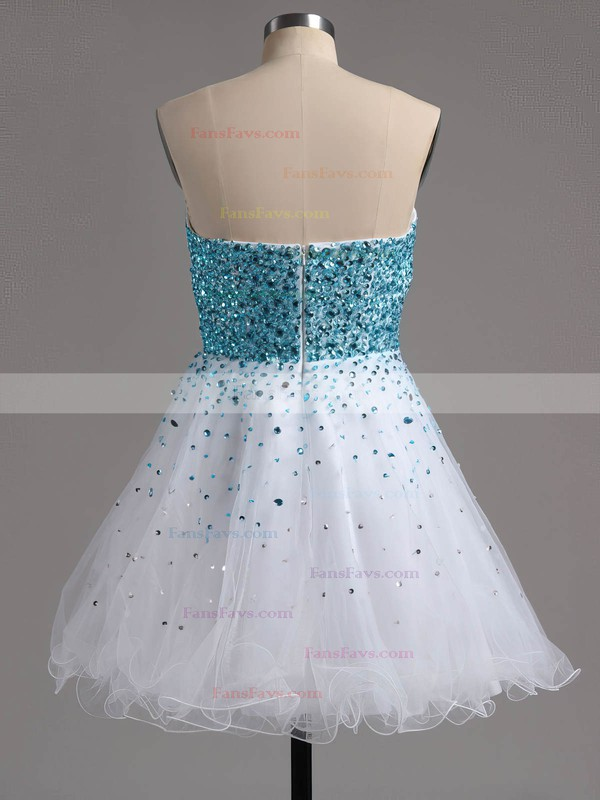 A-line Sweetheart Tulle Short/Mini Beading Homecoming Dresses #Favs02016389