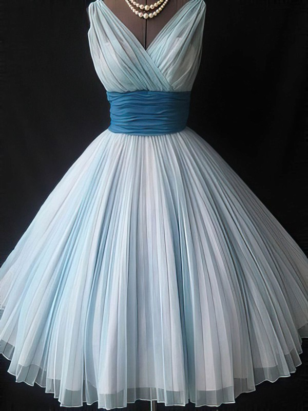 A-line V-neck Short/Mini Tulle Prom Dresses with Pleats Sashes #Favs02016779