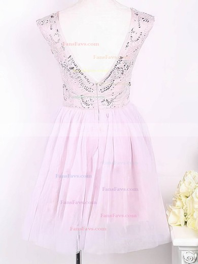 A-line Scoop Neck Short/Mini Tulle Prom Dresses with Beading #Favs02016905