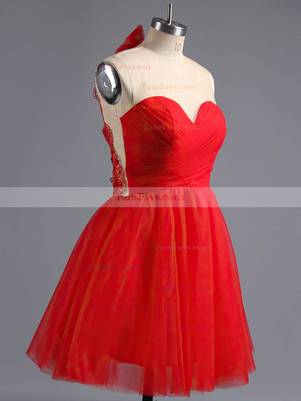 A-line Scoop Neck Tulle Short/Mini Beading Homecoming Dresses #Favs02016973