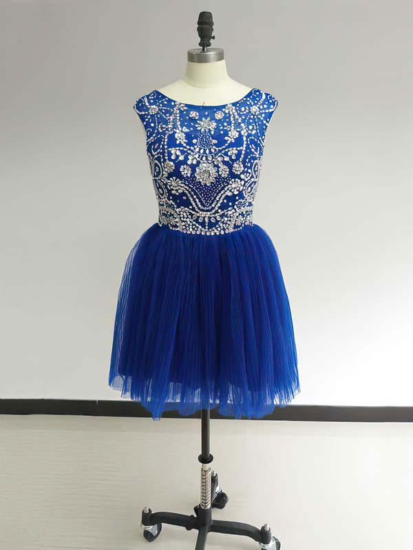 Scoop Neck Royal Blue Tulle Ruffles Beading Cute Short/Mini Prom Dress #Favs02017469