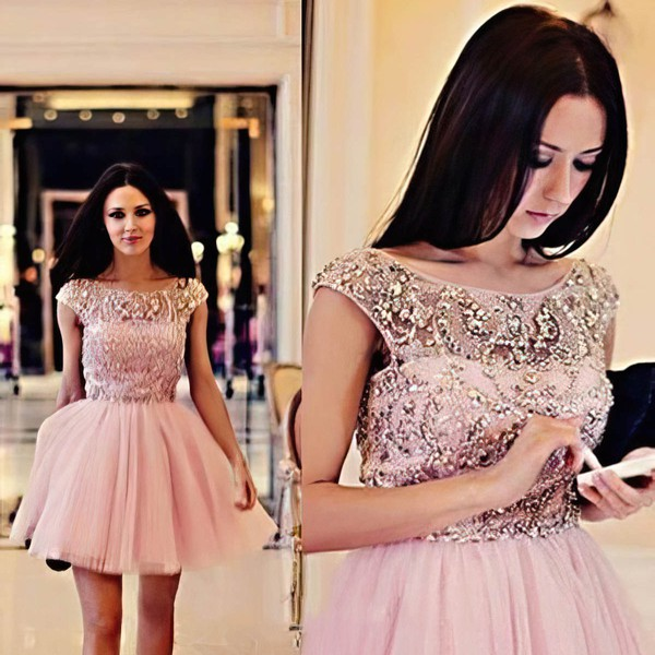 A-line Scoop Neck Tulle Short/Mini Beading Homecoming Dresses #Favs02018794