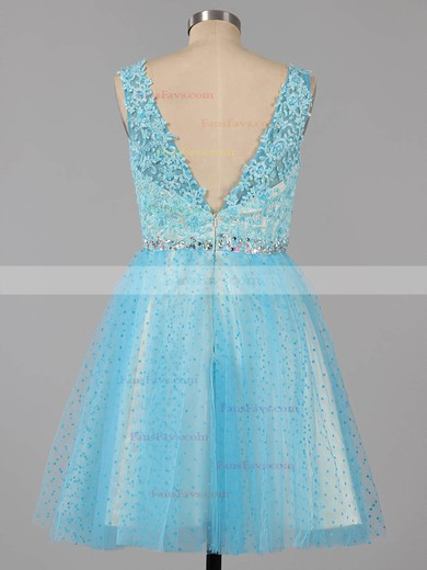 Ball Gown Square Neckline Short/Mini Tulle Prom Dresses with Appliques Lace Beading #Favs02019155