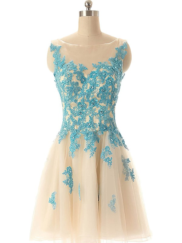 New Style Tulle with Appliques Lace Scoop Neck Short/Mini Prom Dresses #Favs02019690