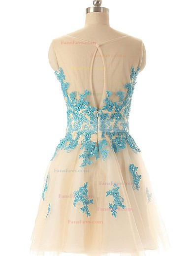 A-line Scoop Neck Short/Mini Tulle Prom Dresses with Appliques Lace #Favs02019690