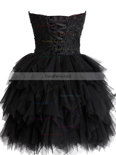 Black Short/Mini Tulle Sweetheart Lace and Tiered Fashionable Prom Dress #Favs02019798