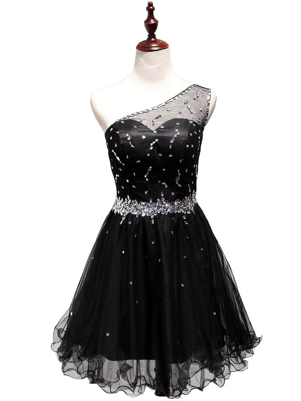 A-line One Shoulder Short/Mini Tulle Prom Dresses with Beading Ruffle #Favs02019809