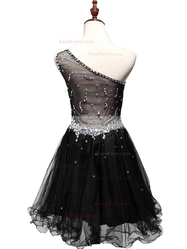 New Tulle Beading Short/Mini Little Black One Shoulder Prom Dress #Favs02019809
