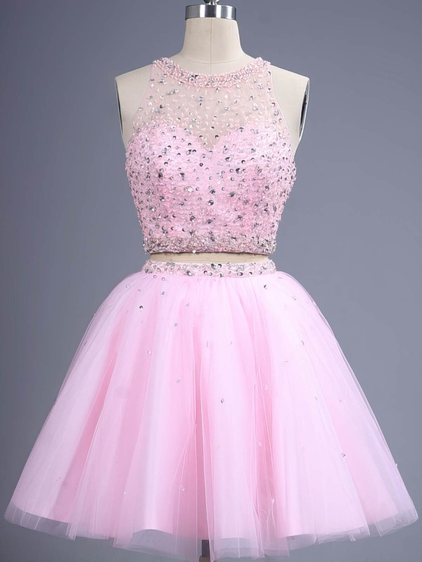 Trendy Two Piece Short/Mini Scoop Neck Pink Tulle Beading Prom Dress #Favs02019884