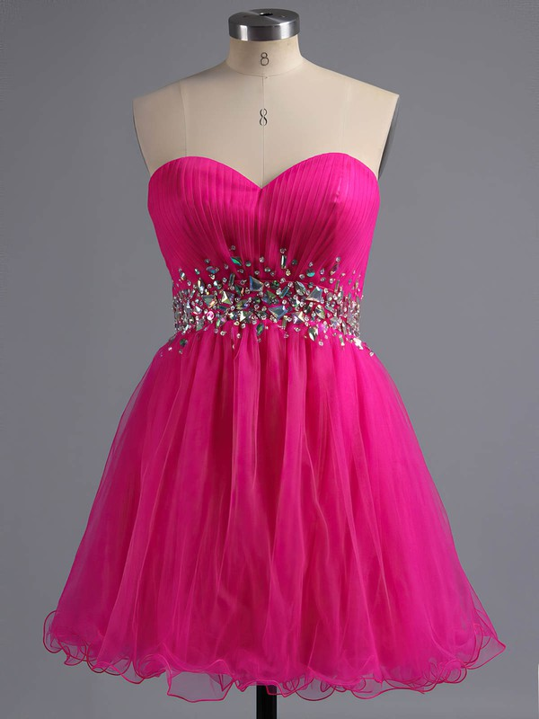 A-line Sweetheart Tulle Short/Mini Beading Homecoming Dresses #Favs02041945