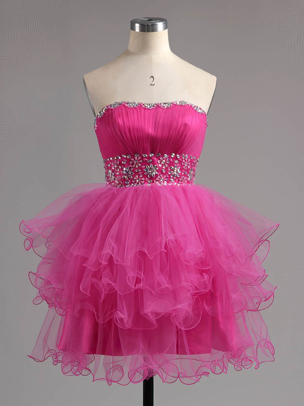 A-line Sweetheart Tulle Short/Mini Beading Homecoming Dresses #Favs02041947