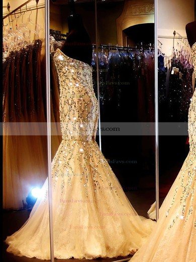Trumpet/Mermaid Sweetheart Lace Tulle Sweep Train Beading Prom Dresses #Favs02023522