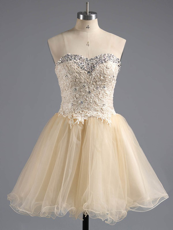 Ball Gown Sweetheart Short/Mini Tulle Prom Dresses with Appliques Lace #Favs02042380