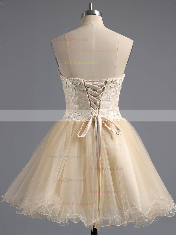 Ball Gown Sweetheart Tulle Short/Mini Appliques Lace Homecoming Dresses #Favs02042380