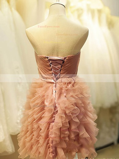 Short/Mini Pearl Pink Tiered Tulle Lace-up Beautiful Ball Gown Homecoming Dress #Favs02051775