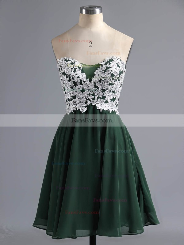 Original A-line Sweetheart Tulle Chiffon Short/Mini Appliques Lace Homecoming Dresses #Favs020100990