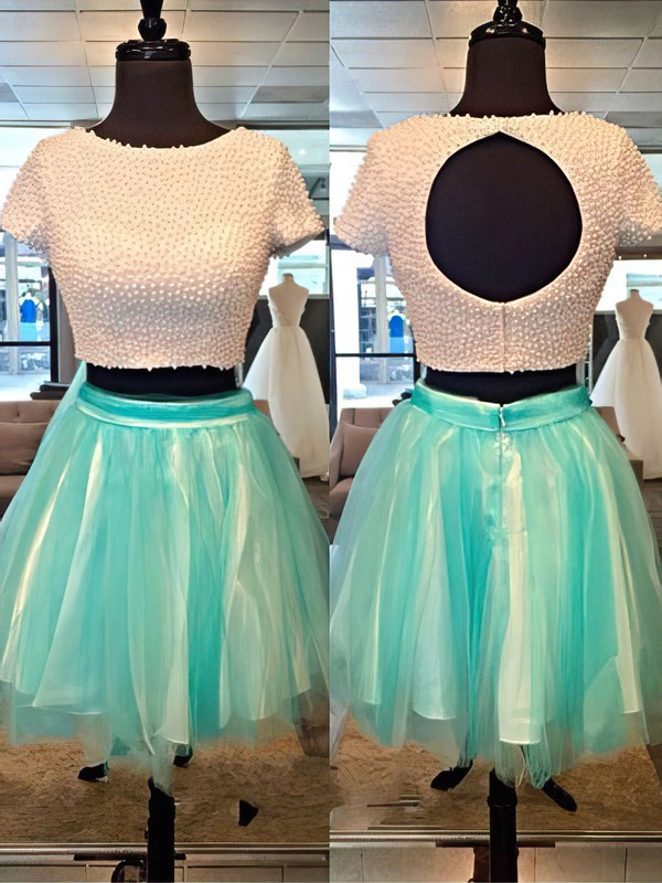 A-line Scoop Neck Short/Mini Tulle Prom Dresses with Beading Ruffle #Favs02051700