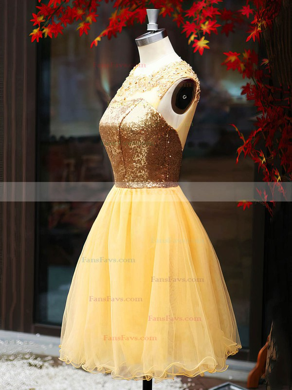 Cute Scoop Neck Gold Tulle Sequined Open Back Short/Mini Prom Dress #Favs02016919