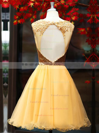 A-line Scoop Neck Short/Mini Tulle Sequined Prom Dresses with Beading Ruffle #Favs02016919