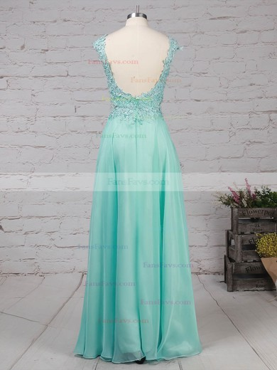 A-line Scoop Neck Chiffon Tulle with Split Front Prom Dress #Favs020105059