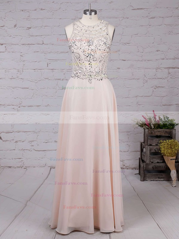 A-line Scoop Neck Chiffon Floor-length Beading Prom Dresses #Favs020100026