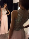 A-line Scoop Neck Floor-length Chiffon Prom Dresses with Beading #Favs020100026
