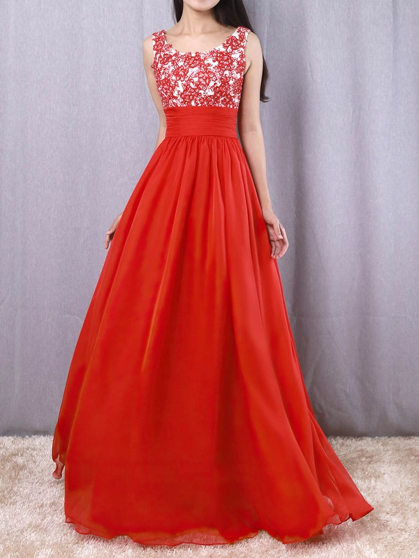 A-line Scoop Neck Chiffon with Beading Prom Dress #Favs020105043