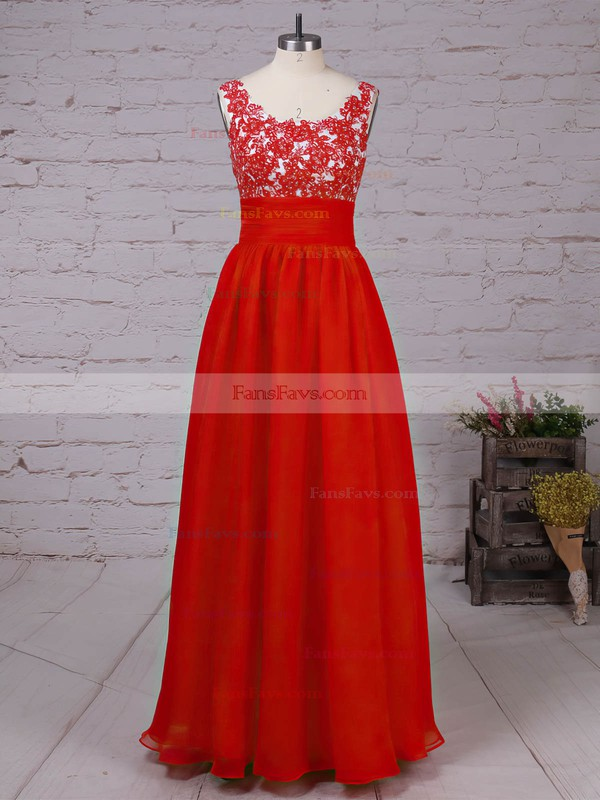 A-line Scoop Neck Chiffon Floor-length Beading Prom Dresses #Favs020105043