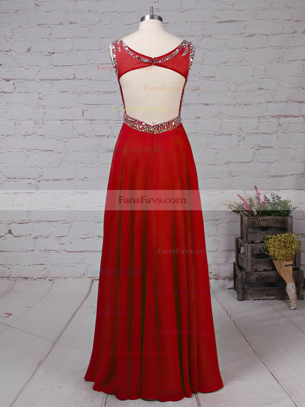 A-line Scoop Neck Chiffon Floor-length Beading Prom Dresses #Favs020105045