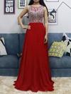 A-line Scoop Neck Chiffon Floor-length Beading Prom Dresses #Favs020105045