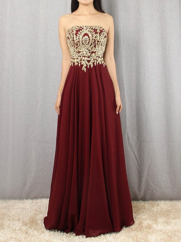 A-line Strapless Chiffon Floor-length Beading Prom Dresses #Favs020105046