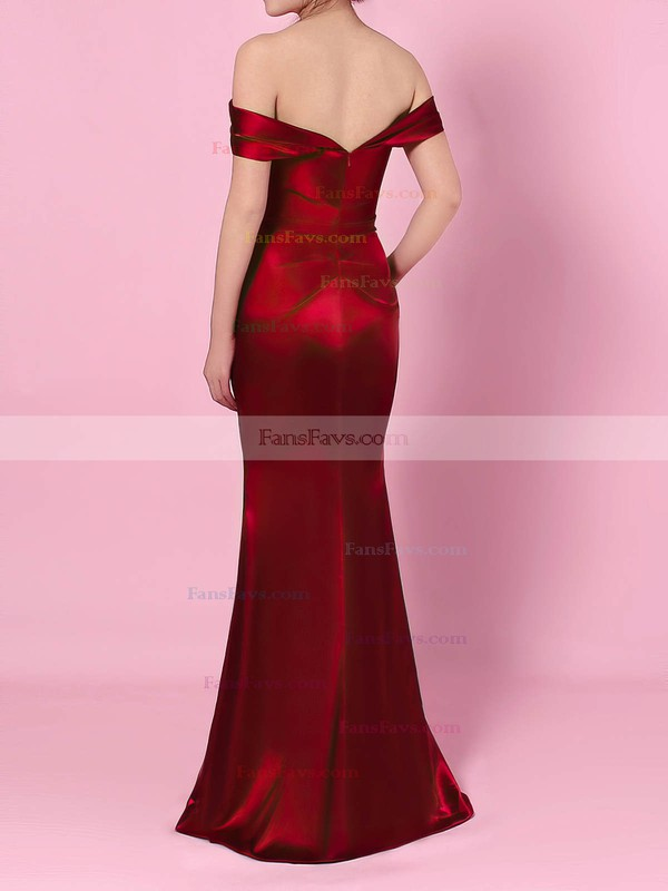 Sheath/Column Off-the-shoulder Silk-like Satin Floor-length Split Front Prom Dresses #Favs020105047
