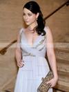 A-line V-neck Chiffon Floor-length Appliques Lace Prom Dresses #Favs020101225