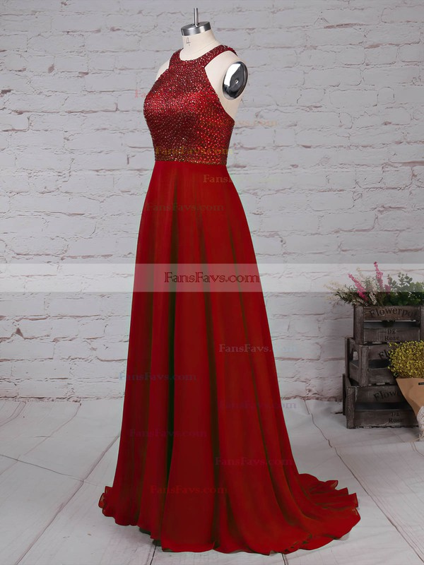 A-line Scoop Neck Chiffon Sweep Train Beading Prom Dresses #Favs020105055
