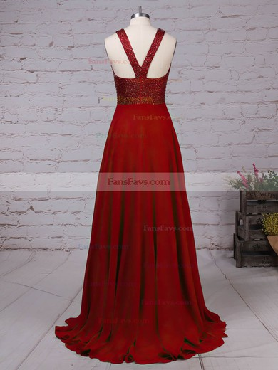 A-line Scoop Neck Chiffon Satin with Beading Prom Dress #Favs020105055