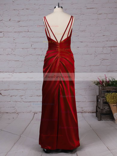 Sheath/Column V-neck Silk-like Satin Floor-length Ruffles Prom Dresses #Favs020105058