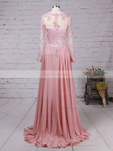 A-line V-neck Chiffon Tulle with Beading Prom Dress #Favs020105065