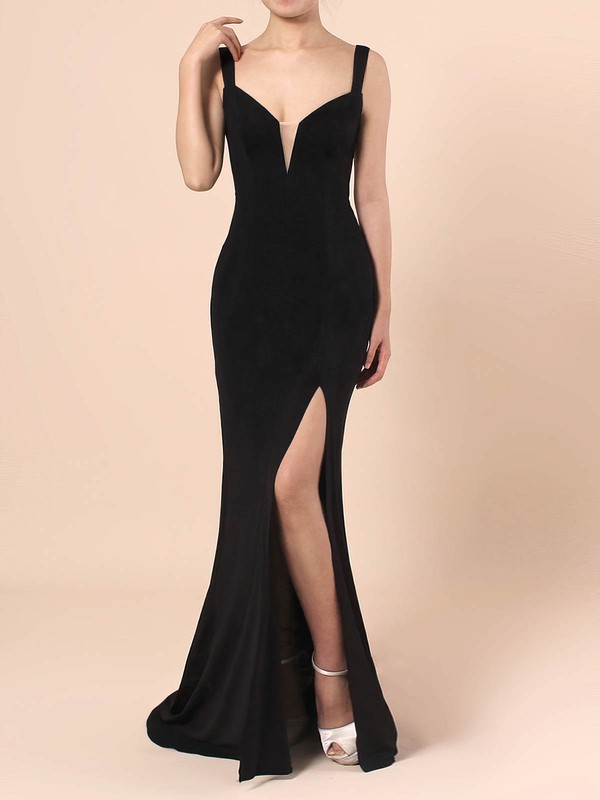 Sheath/Column V-neck Jersey with Draped Prom Dress #Favs020105069