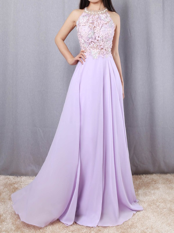 A-line Scoop Neck Chiffon Sweep Train Beading Prom Dresses #Favs020105074