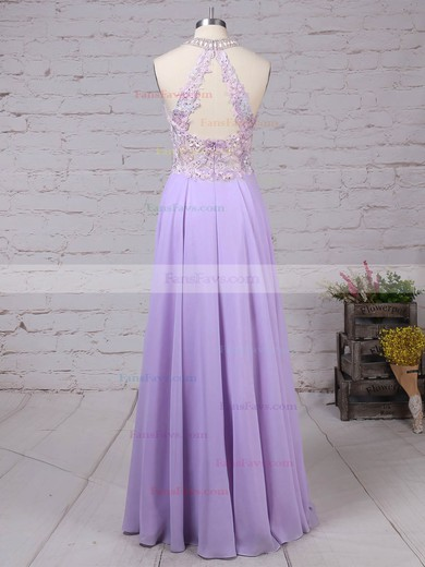 A-line Scoop Neck Chiffon Tulle with Beading Prom Dress #Favs020105074