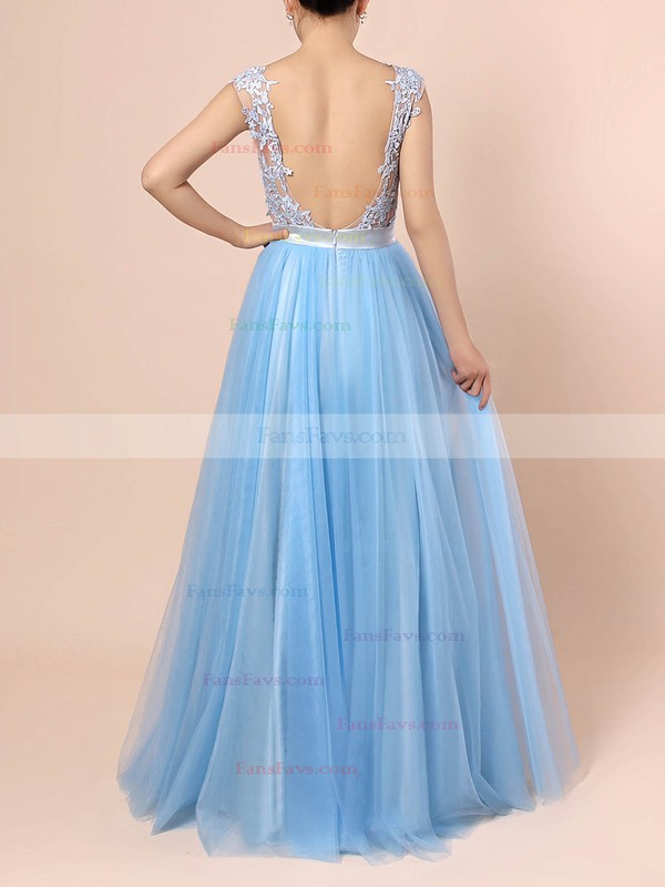 A-line Scoop Neck Tulle Sweep Train Appliques Lace Prom Dresses #Favs020105076