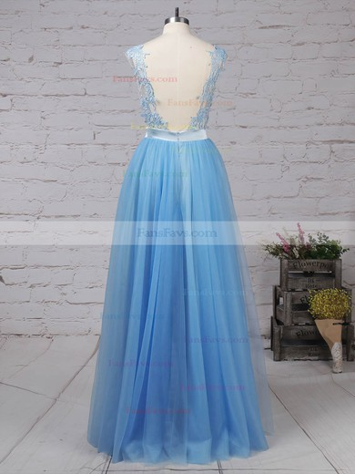 A-line Scoop Neck Tulle with Appliques Lace Prom Dress #Favs020105076