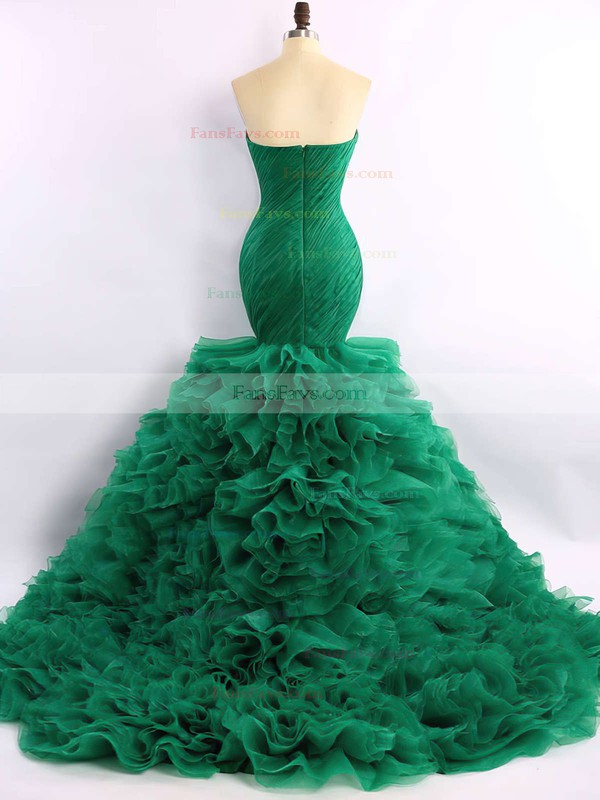 Trumpet/Mermaid Sweetheart Organza Court Train Cascading Ruffles Prom Dresses #Favs020101683