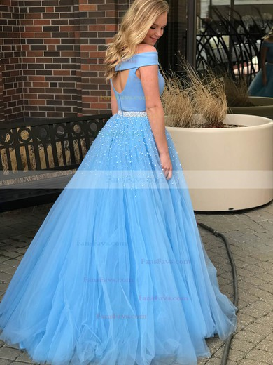 Princess Off-the-shoulder Tulle Floor-length Pearl Detailing Prom Dresses #Favs020105077