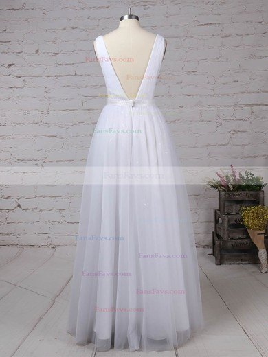A-line V-neck Tulle Floor-length Sashes / Ribbons Prom Dresses #Favs020105079