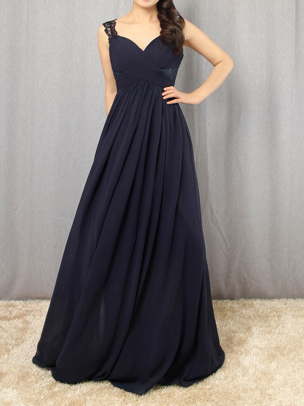 Empire V-neck Chiffon Floor-length Appliques Lace Prom Dresses #Favs020105081
