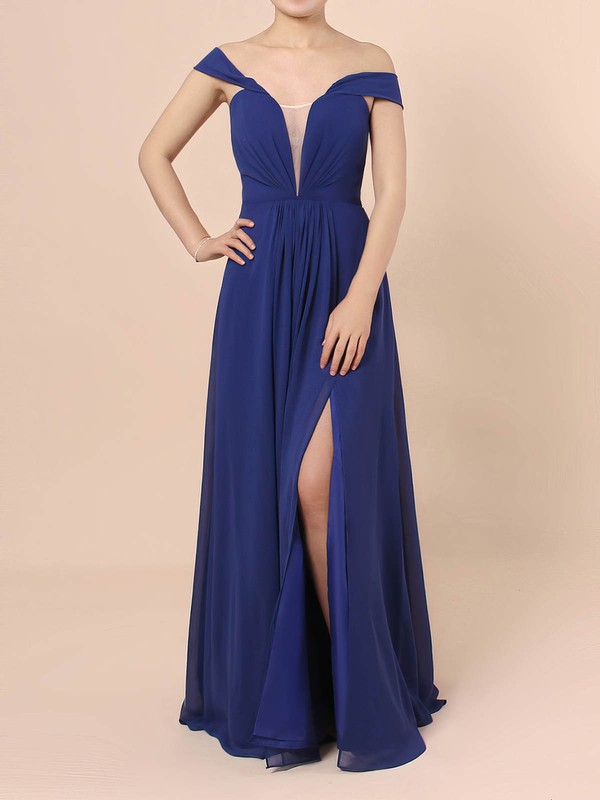 A-line Off-the-shoulder Chiffon with Ruffles Prom Dress #Favs020105083