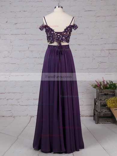 A-line V-neck Chiffon Floor-length Beading Prom Dresses #Favs020105087